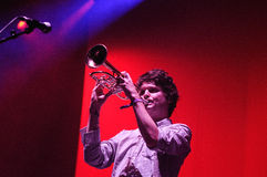 Zach Condon, lead singer of Beirut band, plays the trumpet at San Miguel Primavera Sound Festival Stock Photos