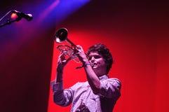 Zach Condon, Sänger von Beirut-Band, Spiele die Trompete bei San Miguel Primavera Sound Festival Stockfotos