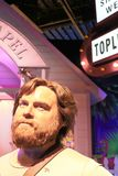 Zach Galifianakis wax figure with movie set. LAS VEGAS NV - Oct 09 2017: Zach Galifianakis wax figure with movie set from HANGOVER movie at Madame Tussauds Royalty Free Stock Images
