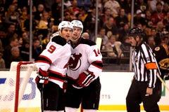 Zach Parise and Adam Henrique NJ Devils stock images