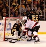 Zach Parise v. Tim Thomas (NHL Hockey) Stock Photography