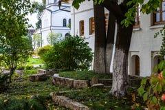 Zachatievskiy Monastery. The Church. Russia. Moscow. Orthodox Monastery. The garden inside the Zachatievskiy Monastery. Summer. 2014 Stock Photo