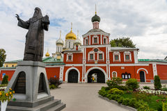 Zachatievskiy Monastery. Russia. Moscow. Orthodox Monastery. The main entrance of the Zachatievskiy Monastery. The monument in front of the main entrance of the Royalty Free Stock Images