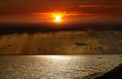 zachód słońca nad morza czarnego Fotografia Stock