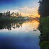 zachód słońca nad rzeką Zdjęcie Royalty Free