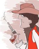 Zachodni bandyta w kowbojskim kapeluszu z pistoletem. Wektorowy portr Zdjęcia Royalty Free