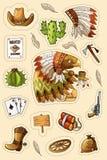 Zachodni dzicy zachodni sztuka majchery ustawiający Pistolet, pociski, kaktusy i wiele inne rzeczy, royalty ilustracja