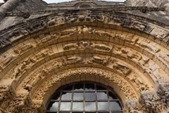 Zachodni fasadowy archiwolta szczegół Notre-Dame De l'Assomption De Zdjęcia Stock