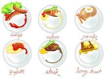 Zachodni jedzenie i deser w biel naczyń ikony secie ilustracji