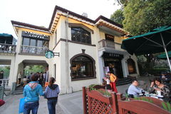 Zachodni Jeziorny Kulturalny krajobraz Hangzhou ulicy widok zdjęcia stock