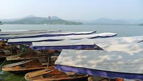 Zachodni jezioro z łodziami Fotografia Royalty Free