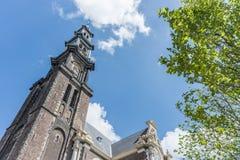 Zachodni kościół w Amsterdam, holandie Fotografia Royalty Free