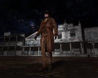 Zachodni miasteczko, kowboj Banicyjna ilustracja Obrazy Stock