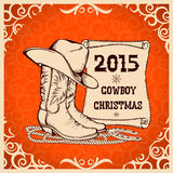 Zachodni nowego roku kartka z pozdrowieniami z kowbojskimi tradycyjnymi przedmiotami Zdjęcie Royalty Free