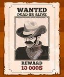 Zachodni plakat na starym pergaminie Chcieć dziki bandyta Wektorowy plakat ilustracji