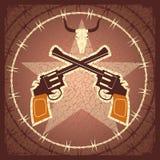 zachodni plakat z pistoletami i byk czaszką Obrazy Stock