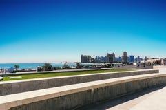 Zachodni Podpalany teren Doha w Doha Zachodnia zatoka rozważa jako jeden wybitni okręgi Doha, Katar zdjęcie stock