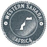 Zachodni Sahara mapy rocznika znaczek ilustracji