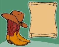 Zachodni tło z kowbojskimi butami   royalty ilustracja