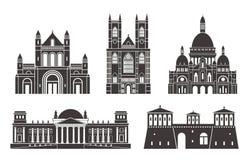 Zachodnia Europa Odosobneni Europejscy budynki na białym tle ilustracja wektor