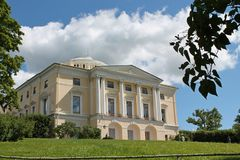 Zachodnia fasada Pavlovsky pałac Miasto Pavlovsk obrazy royalty free