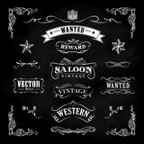 Zachodnia ręka rysujący blackboard rocznika odznaki wektor Zdjęcia Royalty Free