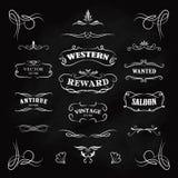 Zachodnia ręka rysujący odznaki blackboard sztandarów rocznika wektor royalty ilustracja