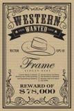 Zachodnia rocznik ramy etykietka chciał retro ręka rysującego wektor Fotografia Royalty Free