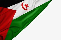 Zachodnia Sahara flaga tkanina z copyspace dla tw?j teksta na bia?ym tle ilustracji