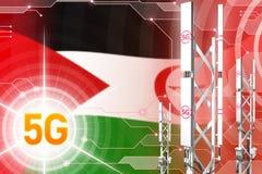 Zachodnia Sahara 5G przemysłowa ilustracja, ogromny komórkowy sieć maszt lub wierza na cyfrowym tle z flagą, - 3D ilustracji