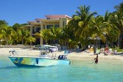 Zachodnia zatoki plaża w Honduras Obrazy Royalty Free