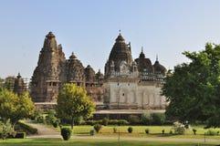 Zachodnie świątynie Khajuraho. India, UNESCO miejsce. Obraz Royalty Free