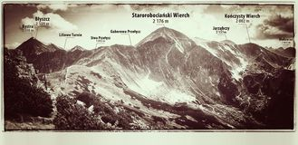 Zachodnie Tatras góry, widok od Ornak Fotografia Stock