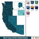 Zachodnie Wybrzeże Stany Zjednoczone ilustracji