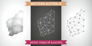 Zachodniej Australii kolekcja wektorowego projekta map, szarej, czarnej i srebnej kropka konturu mozaiki 3d mapa nowożytna, Zdjęcia Stock