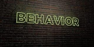 ZACHOWANIE - Realistyczny Neonowy znak na ściana z cegieł tle - 3D odpłacający się królewskość bezpłatny akcyjny wizerunek ilustracja wektor