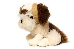Zacht die hondstuk speelgoed voor kinderen, op witte achtergrond worden geïsoleerd royalty-vrije stock afbeeldingen