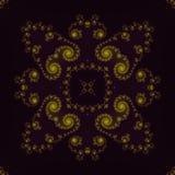 Zacht dun abstract geel ornament op donkere backgroun, kadervormen vector illustratie