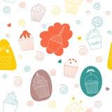 Zacht naadloos patroon met cake Royalty-vrije Stock Foto's