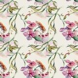 Zacht patroon met waterverfbloemen stock illustratie