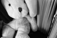 Zacht pluchestuk speelgoed konijn met hoofdtelefoons bij het zitten onder boeken royalty-vrije stock foto
