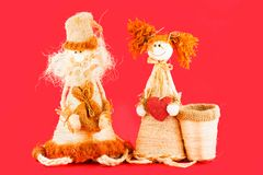 zacht stuk speelgoed Doll van stro worden gemaakt dat Royalty-vrije Stock Foto