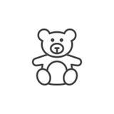 Zacht stuk speelgoed, het pictogram van de Teddybeerlijn, overzichts vectorteken, lineaire pict royalty-vrije illustratie