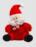 Zacht stuk speelgoed Santa Claus op een transparante achtergrond, PNG stock fotografie