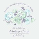 Zachte Blauwe Uitstekende Bloemengroetkaart Stock Foto