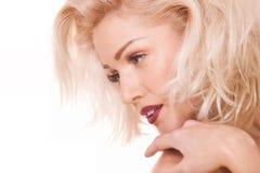 Zachte blondevrouw Stock Foto's