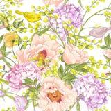 Zachte de Lente Bloemen Naadloze Achtergrond Stock Foto