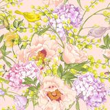 Zachte de Lente Bloemen Naadloze Achtergrond Stock Afbeelding