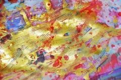 Zachte fonkelende gouden roze blauwe violette waterverf die abstracte achtergrond schilderen Stock Foto's