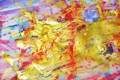 Zachte fonkelende gouden roze blauwe waterverf die abstracte achtergrond schilderen Royalty-vrije Stock Afbeeldingen